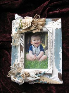 BOY FRAMES Vintage Altered Photo Frame 4 x 6, Picture Frame, Mixed Media, Home Decor, Shabby Chic