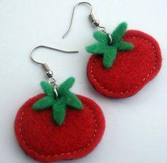 felt earrings tomato