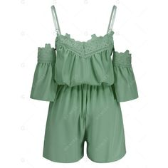 Cold Shoulder Lace Insert Playsuit ($11) ❤ liked on Polyvore featuring jumpsuits, rompers, green rompers, playsuit romper, green romper and cold shoulder romper