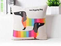 Colourful Dachshund 'Hot Diggedy Dog' Cushion Cover
