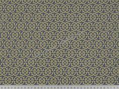 Michas Stoffecke - Stretchjersey Vintage Ornaments gelb auf anthrazit V-EP-PL-1197-YC-EV