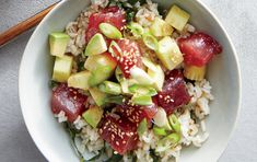 Tuna poke bowls with brown rice and kale 1440 medium