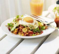 Kopapa's chorizo hash with rocket, fried egg, crispy shallots  sriracha chilli sauce