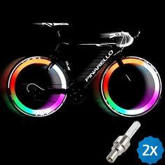 Wheel Light Tire Valve Caps Light 2pcs Multicoloured LED Bicycle Bike Valve Light Bike