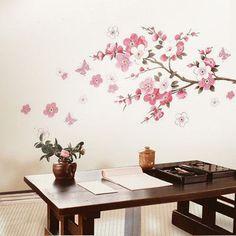 sticker arbre grande fleur de cerisier, hot rose fleur arbre wall