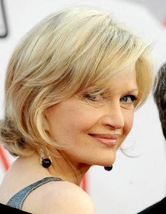 Diane Sawyer's layered blonde style has a nape-of-the-neck length and long, side-swept bangs to highlight her eyes.More Hairstyles for Older Women:Short Haircuts Over 50Bob Hairstyles Over 4010 Perfect PonytailsShort Hair Over 40Red Hair Over 40Updos Over 40Bronde Hairstyles Over 40Dos and Don'ts of...