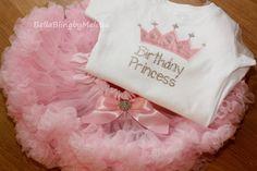 Baby Girl Birthday Princess Outfit, Birthday Princess Shirt and Pettiskirt Set, First Birthday Bodysuit and Pettiskirt on Etsy, $75.00