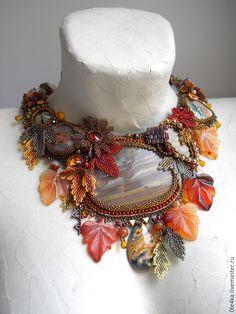 Купить Октябрь - коричневый, ольга орлова, листопад, осенние краски, осень 2015, яшма океаническая