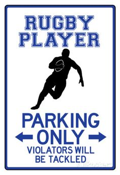 Rugby Player Parking Only Sign Poster Póster
