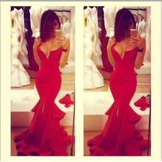 Cheap Sexy V Neck Off The Shoulder Sleeveless Red Polyester Mermaid Floor Length Dress