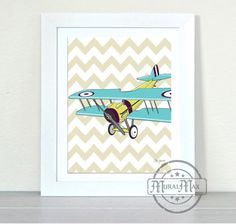 Airplane Nursery , Vintage Airplane Art  Nursery Print, Kids Wall Art - Art for Boys,  Chevron Art Print
