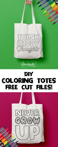 Silhouette Saturday: DIY Coloring Tote Bag + Free Cut Files. Whip up this handmade gift in to time with your Silhouette CAMEO and gift with a set of Fabric Markers! | dawnnicoledesigns.com