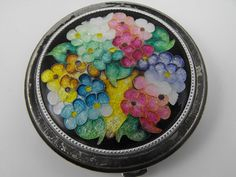 Enamel Floral Compact Cloisonne Powder by VeesVintage on Etsy, $28.00