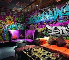 Turn your home into an urban side street with edgy graffiti themed wall murals and wallpaper prints. High quality and long lasting, shop online now! Graffiti Wall Art, Graffiti Wallpaper, Mural Wall Art, Street Art Graffiti, Wall Wallpaper, Black Light Room, Pub Interior, Chill Room, Game Room Design