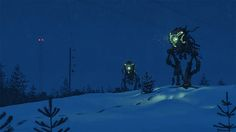 http://simonstalenhag.tumblr.com/post/82975675666/these-runaway-mechs-are-now-available-as-prints