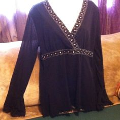 Beautiful black blouse with boho type sleeves Blouse with long boho sleeves. Made by Apt 9. Size XL. Worn a few times. Still in excellent shape. Apt. 9 Tops Blouses