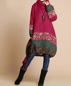 Winter+loose+padded+coat/+linen+babydoll+padded+dress/+by+MaLieb