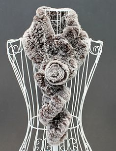 Gorgeous One Flower Rabbit Fur Party / Evening Scarf (More Colors) - USD $ 39.99