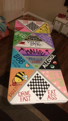 Custom Beer Pong Tables, Beer Table, Diy Table, Diy Party Games, Sleepover Games, Sorority Canvas, Sorority Paddles, Sorority Crafts, Sorority Recruitment