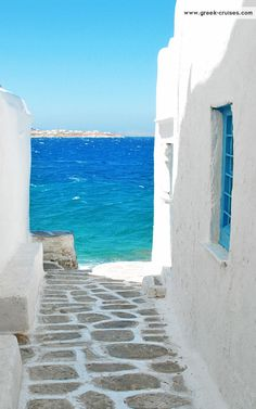White and Blue in Mykonos , Greece