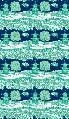 Cloud_Pagoda-midnight/emerald-ch fabric by danikaherrick on Spoonflower - custom fabric