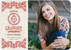 Floral touches compliment this letterpress graduation announcement.