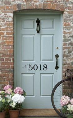 Welcome Vinyl Wall Decal - Front Door/Back Door Vinyl Lettering for the home Front Door Numbers, Front Door Colors, Front Door Decor, House Numbers, Front Porch, The Doors, Back Doors, Entry Doors, Garage Doors