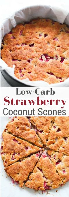 These Low-carb Strawberry Coconut Scones are gluten-free and made with almond flour, shredded coconut and fresh juicy strawberries. (recipes with biscuits) Low Carb Sweets, Low Carb Desserts, Low Carb Cakes, Low Carbohydrate Diet, Low Carb Diet, Dukan Diet, Keto Foods, Pan Cetogénico, Pain Keto