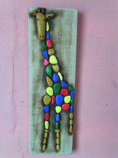 Giraffe pebble wall hanging