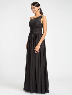 andar vestido de dama de honra comprimento chiffon coluna bainha vestido de um ombro com beading (612.441) | LightInTheBox