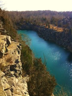 Quarries, Bloomington, Indiana (We used to fish with cane poles in quarries like this near Seymour, Indiana when I was a little girl. Bloomington Indiana, Indiana State, Indiana University, Ohio River, Weekend Getaways, Vacation Spots, Places To See, Beautiful Places, United States
