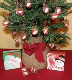 Peppermint Acorn Felted Christmas Ornaments Set of 5 by 8muddyfeet for $12.00