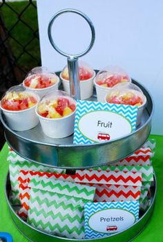 surf's up third birthday party fruit cups