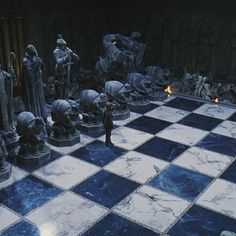 The giant chess board in Philosophers Stone