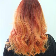 orange ombre hair, orange dip dye hair - find out more on www.helloterrilowe.com #olaplex #toniandguy