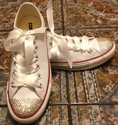 Customised white leather  womens converse all star 100% Swarovski crystals brand new boxed. £70.00, via Etsy.