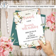 Floral Birthday Invitation 40th Invite Elegant Any Age Editable Instant Download Templett