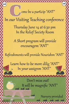 Relief Society Visiting Teaching Conference invite (ant theme).