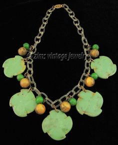 Vintage 1940's marble Green amber BAKELITE floral Charm celluloid chain NECKLACE #VintageCharmNecklace