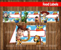 Toy Story Food Labels Printable Toy Story food tent cards
