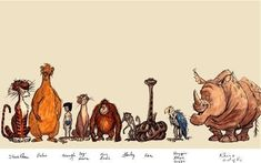 Early sketches of characters from Disney's The Jungle Book, including the deleted Rocky the Rhino, far right Disney Concept Art, Disney Fan Art, Disney Films, Disney Cartoons, Jungle Book Nursery, The Jungle Book, Disneyland Vintage, Mutts Comics, Character Art