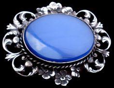 Art Deco Sterling Silver Blue Chalcedony Italian Antique Estate Brooch Pin Italy   eBay