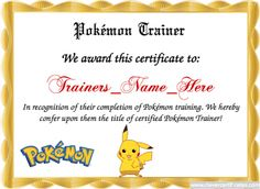 Pokémon trainer Template. Free Certificate templates. You can add text, images, borders & backgrounds. Select images from our library or upload your own for a truly original certificate. #geek #pokemonGo