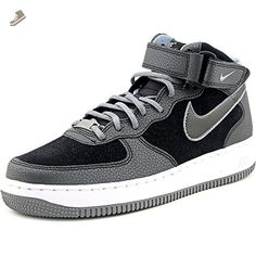 Nike Women's Air Force 1 07 Mid Black/Cool Grey High-Top Synthetic Fashion Sneaker - 8M - Nike sneakers for women (*Amazon Partner-Link)