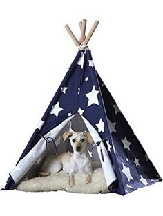 zoovilla Blue with White Stars Large Pet Teepee ❤ Merry Products