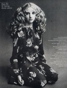 Annie Levine wears fashion by Halston, 1970s. Sidenote: this is how I see Luna Lovegood.
