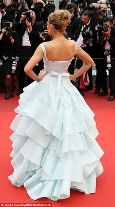 Now that's a dress! The blonde beauty was on fabulous form in the ruffled number, which sk...