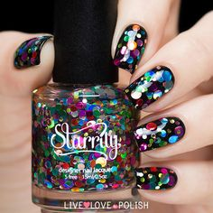 """Starrily: """"Balloon Animal"""" Nail Polish ...  a mix of different sizes of multicolored circle glitters in a clear base"""