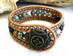 cuff leather beaded bracelet indie surfer zen style with faceted multicolor natural indian & Tibetan copper floral beads