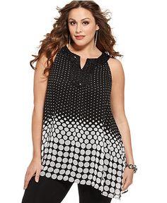 Style Plus Size Top, Sleeveless Printed Handkerchief Hem